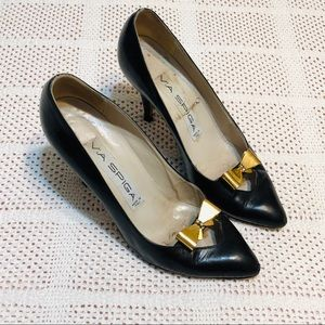 Vintage 1985 Via Spiga leather heels  & brass bow